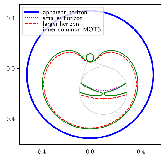 Apparent Horizon formed in a binary Black Hole Merger, with the inner marginally trappes outer surfaces around each black hole, and the inner common MOTS